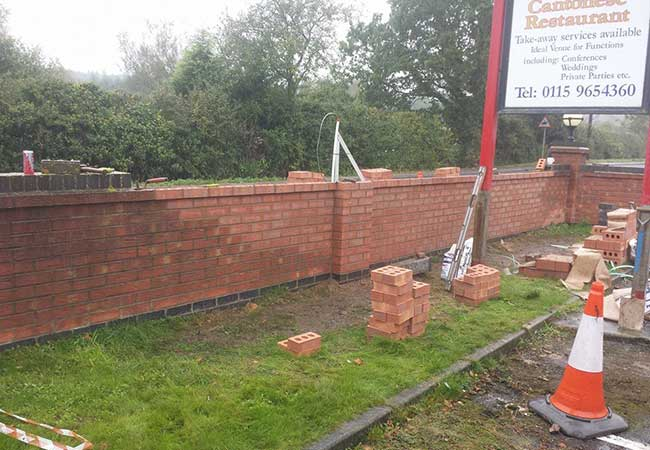 Front boundary wall Repaired using a matching brick at a job in Calverton, Nottingham