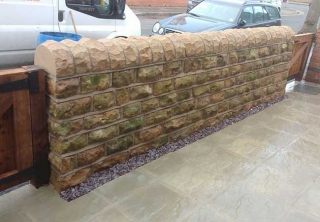 Front garden stone wall built using reclaimed bulwell stone at a job in West Bridgford Nottingham