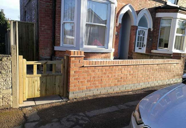 A front garden Wall built using prewar chesire bricks and a gate installed at a job in West Bridgford, Nottingham