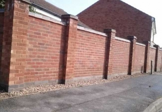 Garden Boundary wall built using london heather bricks at a job in Hempshall Vale Nottingham