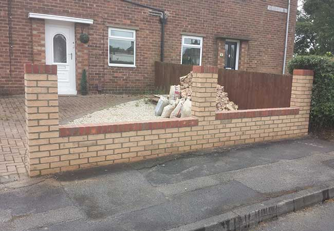 A Front garden wall we built in Kirkby in Ashfield, Nottingham