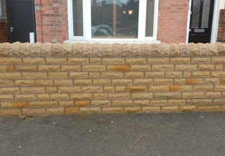 Front garden Stone wall Built using new Stanton stone at a job in West Bridgford, Nottingham