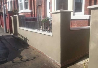 Front Garden wall renderd to tidy it up, railings installed also at a job in Eastwood, Nottingham