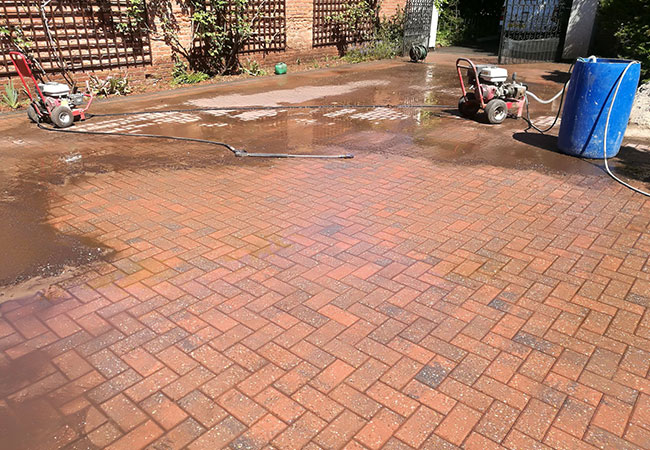 Driveway clean and resand in Radcliffe on Trent, Nottingham (during)