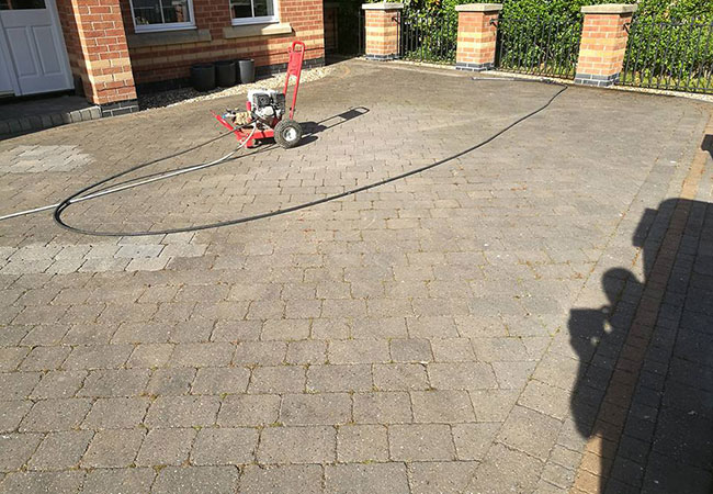A driveway clean and resand at Radcliffe on Trent, Nottingham (before)
