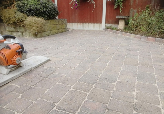Block paved patio, cleaned and re-sanded in Arnold, Nottingham (after)