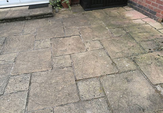 A Patio we repaired, cleaned and repointed on a job in Keyworth, Nottingham (before)