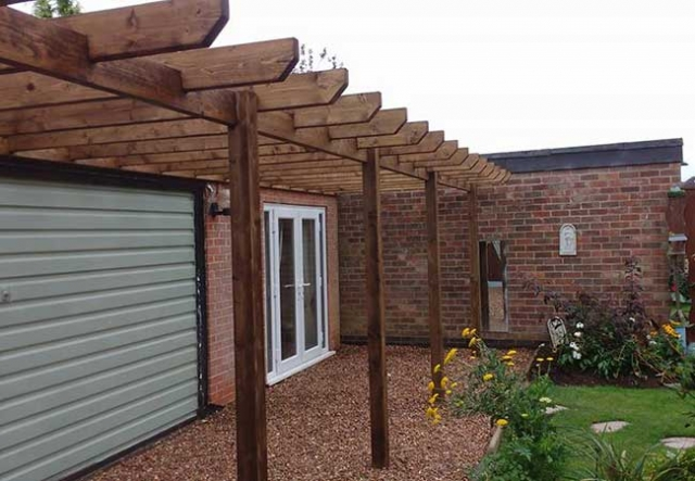 A custom timber pagola we created from scratch for a job in Hucknall, Nottingham