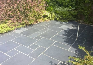 A Black Limestone Patio we layed in Radcliffe on Trent, Nottingham
