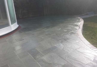 Indian kandla grey sandstone we layed for a patio in Bulcote, Nottingham