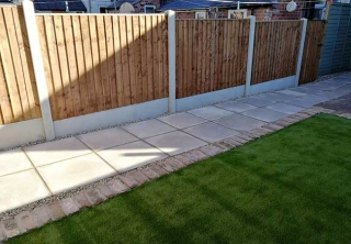 A rear patio path we created using plain concrete slabs, artificail grass and a new fence at a property in Netherfield, Nottingham