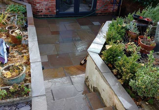 A patio we layed at Kimberley, Nottingham using a Raj Green Indian Sandstone